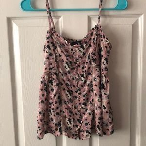 GORGEOUS AEO floral and ruffles cami